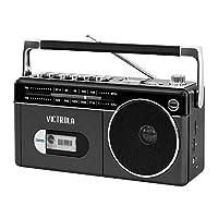 Victrola 迷你蓝牙 Boombox 带磁带播放器、录音机和Am/FM 收音机