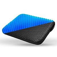 NU NUVO 舒适增强多用途凝胶座垫,双层优质手柄拉链套,黑色适用于汽车、办公室、卡车、家用、轮椅、外部(15.5 x 14 x 1.5 英寸)