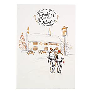 """Hallmark 圣诞卡 To Brother & Partner """"Happiness All Year""""- 中号 Happiness All Year"""