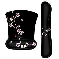 Meffort Inc 鼠标垫护腕和游戏键盘腕垫组合套装 – 耐用的人体工程学防滑防滑方形底座支架支撑 Plum Blossoms Design