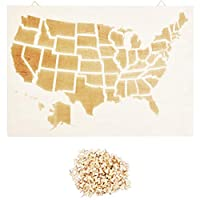 木制地图,带推销,美国(41.91 x 29.21 厘米)