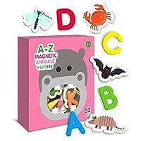 Curious Columbus 儿童动物磁铁。 包括字母。 52 件套。 泡沫教育磁性玩具识别用语。 26 张图片冰箱磁贴和 26 张 ABC 字母 A-Z