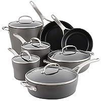 Anolon 81167 12 件套硬质阳极氧化铝厨具套装,深灰色