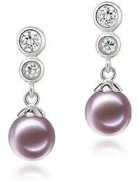 PearlsOnly Colleen 粉紫色 7-8mm AAAA 正圆 无暇淡水珍珠耳环925纯银