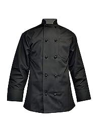 M&M SCRUBS 长袖厨师外套打结纽扣厨师服易于护理斜纹