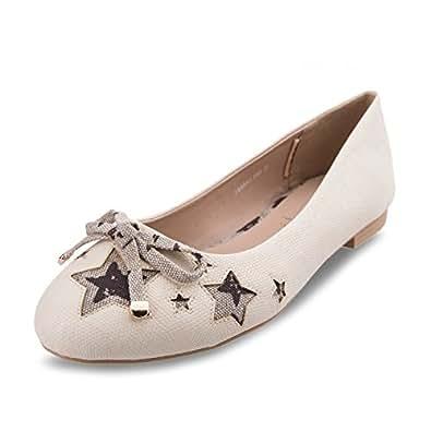 BF Sole 女士舒适蝴蝶结星芭蕾平底鞋 米色 6.5 M US