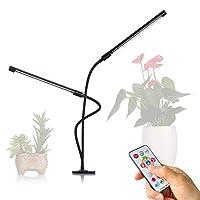 Aobelieve 全光谱 LED 生长灯,适用于室内植物,45W 可调光双头鹅颈夹式生长灯,带计时器和遥控器