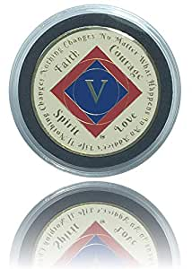 { 5 色} 简单*少 5 年 NA 镀金恢复清洁时硬币,Medallion + 塑料展示手机壳 34x2mm 红色/深蓝色