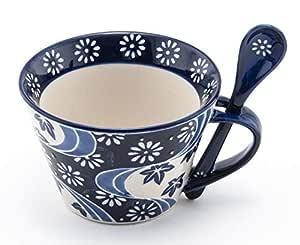 Mira Designs 迷人陶瓷马克杯带配套汤匙 340.19 毫升杯 适用于咖啡茶塔咖啡咖啡馆 Mocha 热饮 Blue White Kiku 12 fl oz
