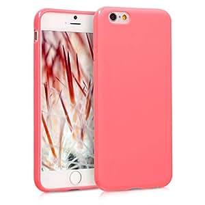 kwmobile TPU 硅胶手机壳 Apple iPhone 6 / 6S - 柔软灵活减震保护手机外壳 - 黑色高光泽 .neon coral matte