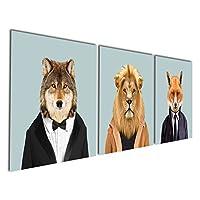 Gardenia Art - 动物世界系列 3 狮子狼和狐狸帆布印刷现代墙艺术画小狗野生动物艺术微喷作品适用于房间装饰 黑色 12x12 inch No Model