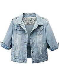 Omoone 女式七分袖剪裁修身仿旧牛仔卡车司机夹克披肩上衣