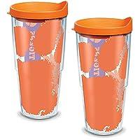 Tervis 1095188 Clemson Tigers 巨型玻璃杯带包装和橙色盖子 2 件装 24 盎司(约 680.4 克),透明