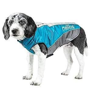 Helios Altitude-Mountaineer Wrap-Velcro Protective Waterproof Dog Coat with Blackshark Technology Blue, Charcoal Grey, Light Grey X大码