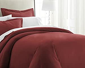 ienjoy Home 3 件套 Becky Cameron 双层磨毛超细纤维羽绒被套 *红色 Queen BC-DUVET-QUEEN-BURGUNDY