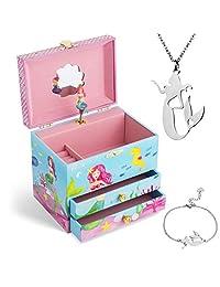Jewelkeeper 音乐盒和小女孩首饰套装 - 3 件女孩礼物 美人鱼
