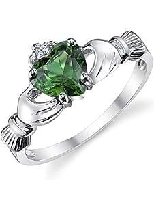925 纯银爱尔兰克拉达友谊和爱情戒指 仿翡翠*心形方晶锆石 银色