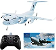 Crazepony 遥控飞机 C-17 运输 EPP DIY 飞机 2 通道 2.4Ghz 遥控器 3 轴陀螺飞机玩具 RTF 灰色