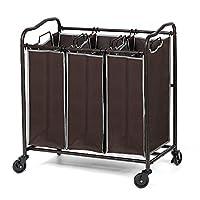 NEX 3 袋洗衣分拣机滚筒洗衣篮分类推车,带可拆卸袋(深棕色)