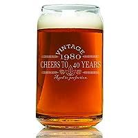 40 岁生日 - 复古 1980 啤酒杯 - 雕刻复古 - 欢乐 - 适合生日礼物 - 蚀刻啤酒玻璃杯