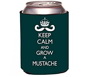 """Rikki Knight""""Keep Calm and Grow a Moustache Green Color Design"""" Beer Can Soda Drinks Cooler Koozie"""