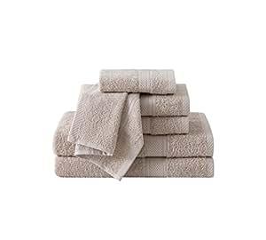 VCNY Home Classic Dobby 浴巾套装,6 件套,棕色 灰褐色 6 件套 CD2-TWL-6PCT-IN-1K