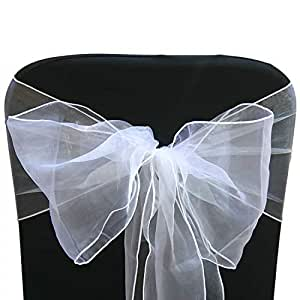 25 White Organza Sash Bow for Chair Cover and for Weddings And Parties