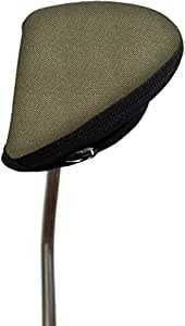 Stealth Club Covers 22170 Putter Oversize Mallet 2-Ball Golf Club Head Cover, Light Beige Tweed/Black
