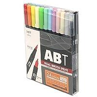 TOMBOW蜻蜓 铅笔 笔 双刷毛笔 ABT 24色套装 基本款 AB-T24CBA