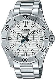Casio 卡西欧 MTD1086D-7AV 男款 不锈钢多功能白色表盘 100M 运动潜水手表