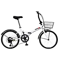 PANGAEA 不易爆胎的折叠自行车 采用不易爆胎的车胎 20英寸 6段变速 装备有自行车篮与挡泥板 94201