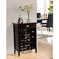 Kings Brand Furniture 木质自助式葡萄*架橱柜带抽屉,深樱桃色
