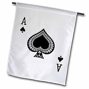 InspirationzStore 扑克牌 - 黑桃 Ace of Spades 扑克牌 - 黑色蜘蛛套装 - 扑克桥游戏玩家的礼物 - 旗帜 12 x 18 inch Garden Flag fl_76552_1