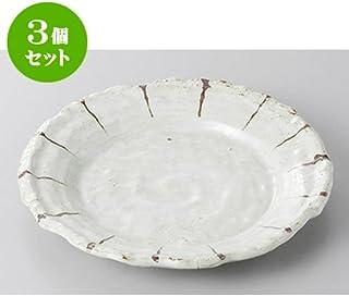3个一套 日式餐盘 粉引十草中盘 [17.5 x 2cm] 土具 【日式*馆 旅馆 日式餐具 餐饮店 业务用 餐具】
