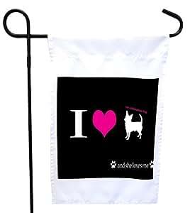 Rikki Knight I Love My Chihuahua Dog House or Garden Flag 字样 27.94 x 27.94 cm 图片,30.48 x 45.72 cm