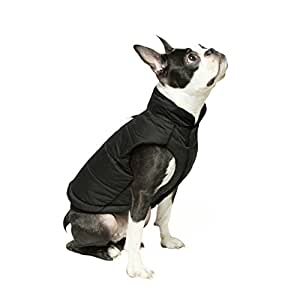 "GOOBY 冬季防风防摔狗狗派克大衣 适用于小型犬 黑色 Large chest (~19"")"