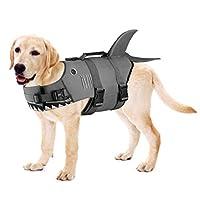 Petacc 狗狗救生衣宠物漂浮背心狗救生衣狗救生衣用于游泳池、海滩、划船的水* 鲨鱼色 大