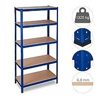 Relaxdays 重型货架,容量1325kg,5层,插入式,车库,高x宽x深:180 x 90 x 45厘米,蓝色