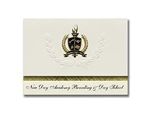 签名公告 New Day Academy 登场和日间学校(埃克莱德,俄亥俄州)毕业公告,总统精英包 25 金色和黑色金属箔印章
