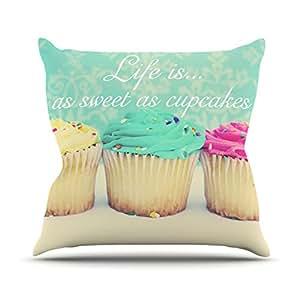 """Kess InHouse Beth Engel Life is as Sweet as Cupcakes 户外抱枕 16"""" x 16"""" * BE1045AOP02"""