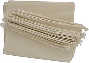 * 纯棉细布抽绳袋 12 件装收纳柜礼品 白色 10 x 15 inch - 12 pack SL178-6