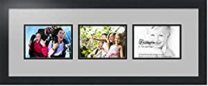 ArtToFrames 字母摄影相框 3-4x10 开口。 缎面黑框。 Tv 灰色 3-5x7 Double-Multimat-57-88/89-FRBW26079