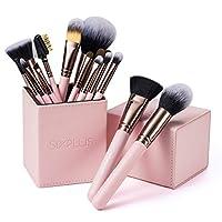 SIXPLUS 15 件套粉色化妝刷套裝,帶化妝架(粉色)