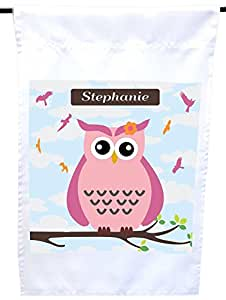 "Rikki Knight""Stephanie""名字可爱粉色猫头鹰与个性化的名字房子或花园旗帜,30.48 x 45.72 cm 旗帜尺寸带 27.94 x 27.94 cm 图像"