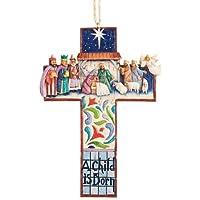 Jim Shore Heartwood Creek 十字架耶稣诞生场景石树脂悬挂装饰品,12.07 cm