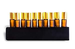 Stone Shades of Stone Essential 油滚筒瓶架 - 存放和陈列 10 毫升滚筒瓶 - * 缟玛瑙或大理石 Classy Black B01M9J9PW8