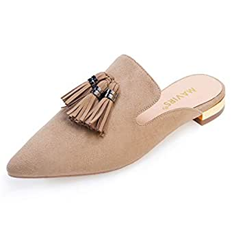 MAVIRS Mule Slides,女式露背乐福鞋流苏尖头便鞋 天然 4 M US