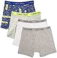 Calvin Klein 男孩内裤 4 条装平角内裤 - 时尚超值装