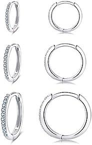 女式純銀箍耳環,3 對防*小睡房 Huggie 鉸鏈方晶鋯石耳環套裝(8/10/12 毫米)