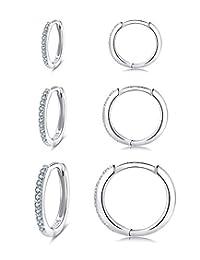 女式纯银箍耳环,3 对防*小睡房 Huggie 铰链方晶锆石耳环套装(8/10/12 毫米)